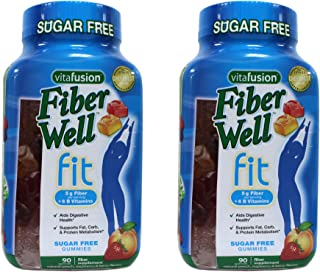 Vitafusion Fiber Well Fit Sugar Free Gummies - 90 ct, Pack of 2