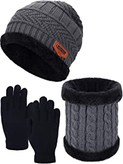 Kids Winter Set Toddler Winter Hat Mitten Set, Includes Warm Hat All Fingers Gloves and Warm Circle Neck