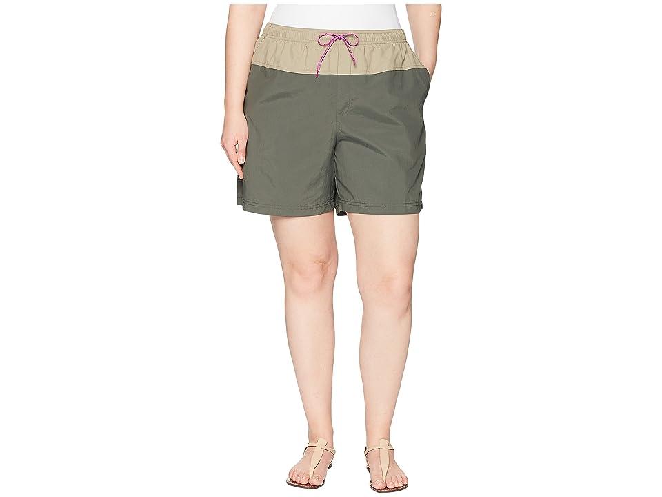 Columbia Plus Size Sandy Rivertm Color Blocked Shorts (Gravel/Tusk/Bright Lavender) Women