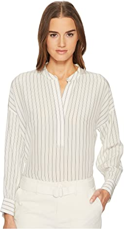 Double Stripe Shirred Drape Pullover