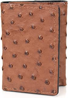 Genuine Ostrich Skin Trifold 9 Card Leather Wallet