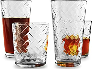 Circleware 40128 Chevron Huge 12-Piece Glassware Set of Highball Tumbler Drinking Glasses and Whiskey Cups for Water, Beer, Juice, Ice Tea Beverages, 6-15.75 oz & 6-12.5 oz, Clear