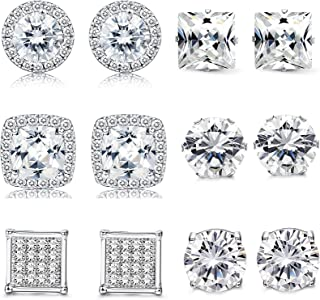 Thunaraz 1-6 Pairs Halo Stud Earrings 18K White Gold Plated Round Square Brillant Cut Earrings with Gift Box