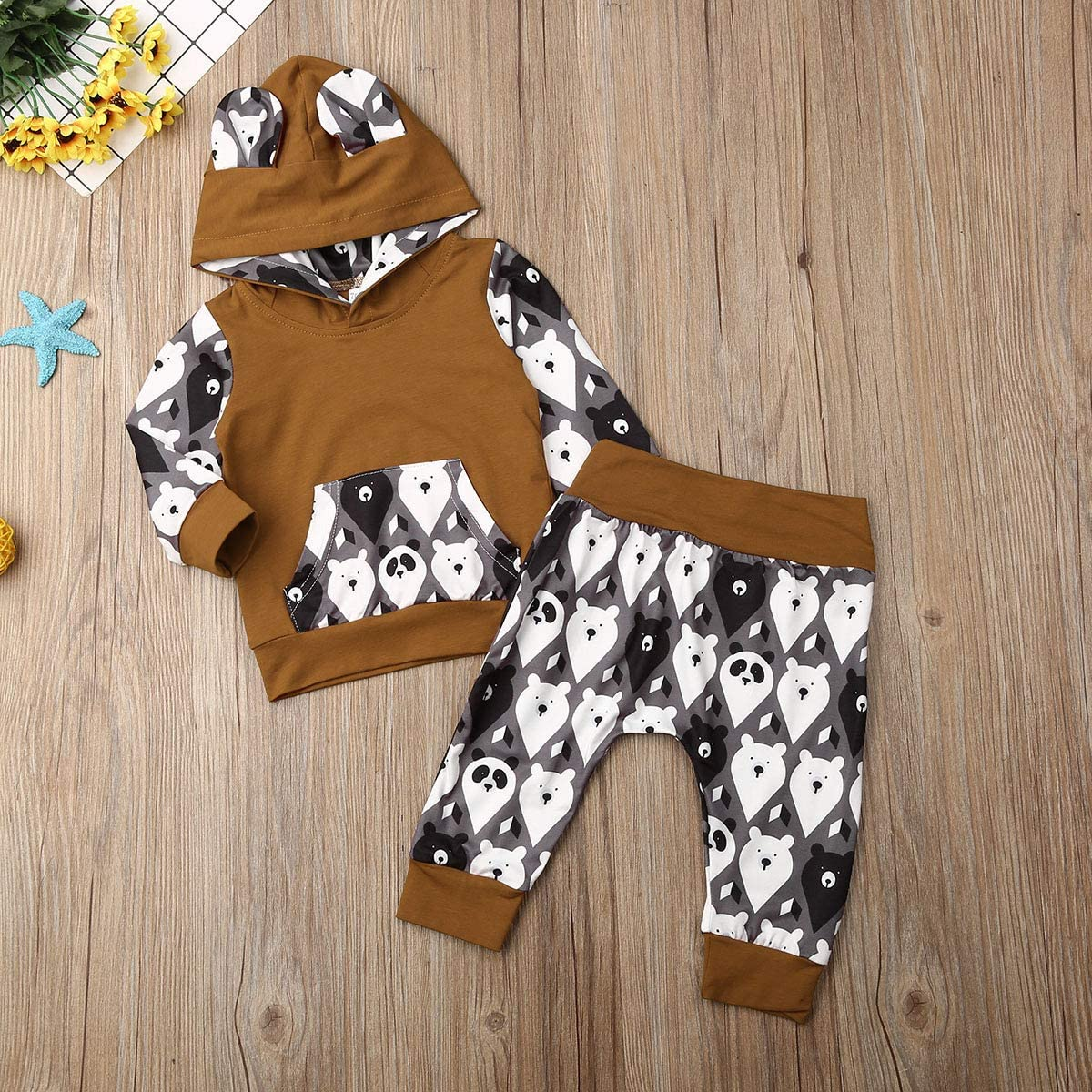 Baby Boys 2 Piece Outfits Long Sleeve Hoodie Pullover Top + Pants Bear Toddlerr Infant Boy Clothes Set