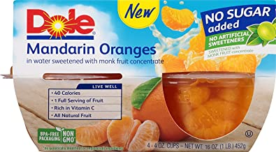 Dole Fruit Bowls, Mandarin Oranges in Water, 4oz, 24 cups