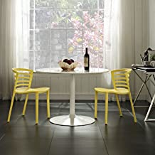 Modway Curvy Contemporary Modern Molded Plastic Two Kitchen and Dining Room Chairs in Yellow - Stackable - Comes Fully Assembled