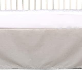 Living Textiles 100% Cotton Crib Bed Skirt (Grey). Machine-Washable Bed Skirt with Pom Pom Trim for Baby Crib