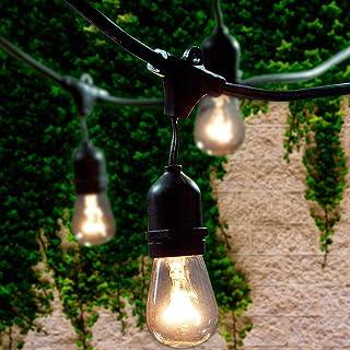 Lemontec Commercial Grade Outdoor String Lights with 15 Hanging Sockets - 48 Ft Black Weatherproof Cord Weatherproof Stran...