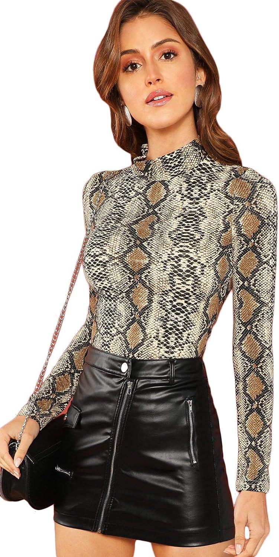 Floerns Women's Long Sleeve Mock Neck Slim Snakeskin T-Shirt Tops