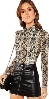Women's Long Sleeve Mock Neck Slim Snakeskin T Shirt Tops