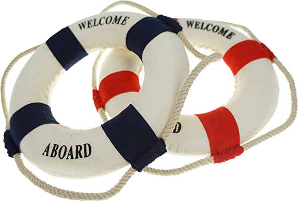 Bilipala 2PCS Welcome Cloth Decorative Life Ring Buoy Home Wall Nautical Decor Red Blue