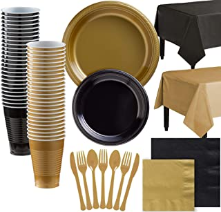 Party City Gold and Black Plastic Tableware Party Supplies for 100 Guests, 852 Pieces, Includes Plates, Napkins, and Table...