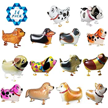 SOTOGO 14 Pieces Walking Animal Balloons Pet Dog Balloons Dog Balloon Air Walkers, Kids Gift Birthday Party Décor