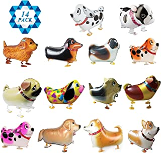 SOTOGO 14 Pieces Walking Animal Balloons Pet Dog Balloons Dog Balloon Air Walkers, Kids Gift Birthday Party Décor