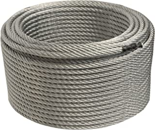 ALEKO WR1/4G7X19F250 1/4 Inch Diameter 7 x 19 Strand Galvanized Aircraft Steel Cable Wire Rope 250 Feet