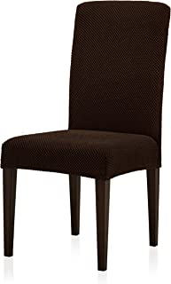 subrtex Jacquard Dining Room Chair Slipcovers Sets, Stretch Chair Furniture Protector Covers, Removable Washable Elastic Parsons Chair Cover for Dining Room, Hotel, Ceremony (4, Chocolate Jacquard)
