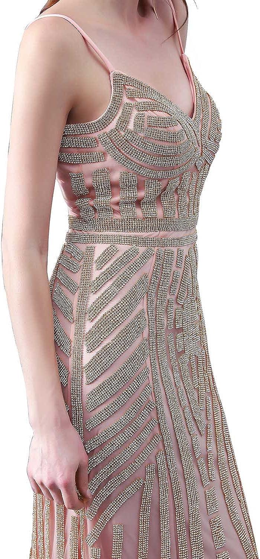 Sarahbridal Damen Bodenlang Mermaid Tuell Abendkleider Perlen Paillette Ballkleid Partykleider SLX006 Rosas