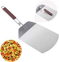 Pizza Peel, McoMce Stainless Steel Metal Pizza Paddle with Foldable Long Wooden Handle, Pizza Spatula Outdoor Pizza Oven A...