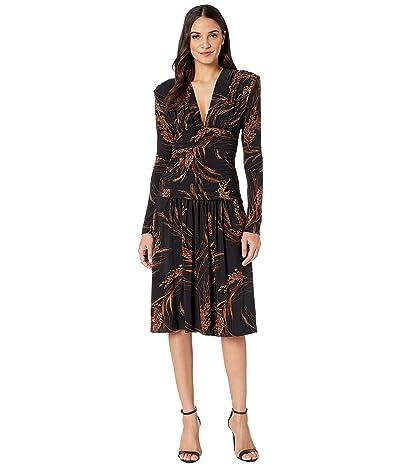 KAMALIKULTURE by Norma Kamali V-Neck Long Sleeve Shirred Waist Dress with Shoulder Pads (Wheat & Barley) Women