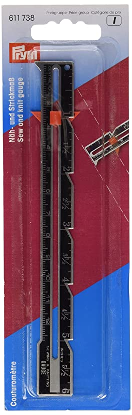 PRYM 611738 Sew and knit gauge with cm and inch scale Size 12.5cm/6 inch, 1 piece