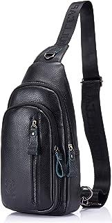 Mens Sling Bag Genuine Leather Chest Shoulder Backpack Crossbody Outdoor Travel Casual Daypack (blcak)