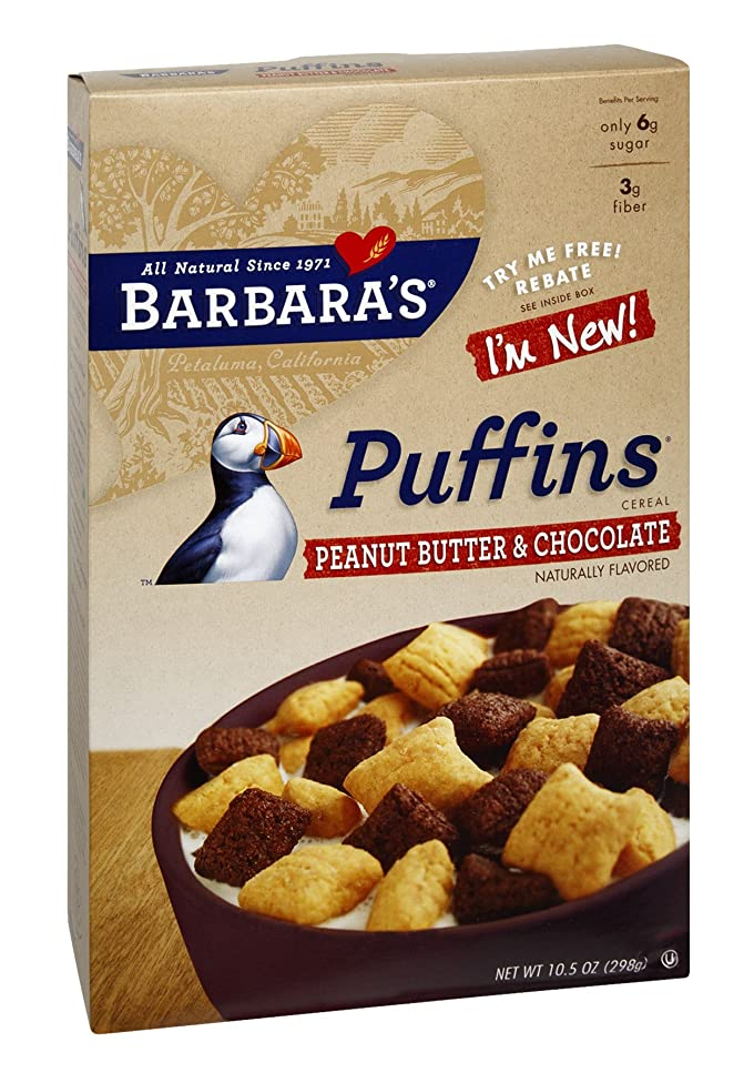 Barbara's Bakery Puffins Cereal Peanut Butter and Chocolate -- 10.5 oz(Pack of 24)