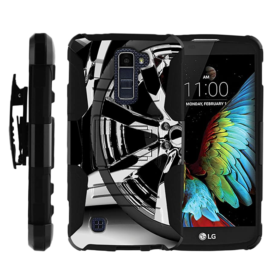 MINITURTLE Case Compatible w/LG Premier LTE |LG K10 Holster Case [Clip Armor] Rugged Cover with Built in Stand and Belt Clip Silver Rim