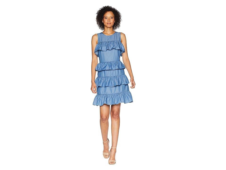 MICHAEL Michael Kors Flounce Dress (Light Cadet Wash) Women