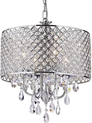 Edvivi Marya 4 Light Chrome Round Crystal Chandelier Ceiling Fixture Beaded Drum Shade Glam Lighting Amazon Com
