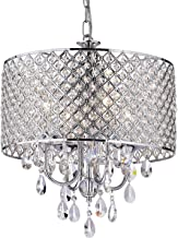Best Edvivi Marya 4-Light Chrome Round Crystal Chandelier Ceiling Fixture | Beaded Drum Shade | Glam Lighting Review