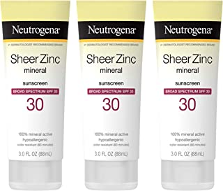 Neutrogena Sheer Zinc Oxide Dry-Touch Sunscreen Lotion with Broad Spectrum SPF 30 UVA/UVB Protection, Water-Resistant, Hyp...