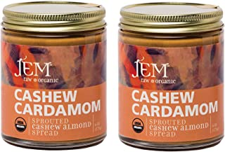 JEM - All Natural, Vegan, Organic, and Dairy Free Cashew Cardamon Nut Butter - Creamy Artisan Spread for Snacks and Sandwiches 6 oz (2 Pack)