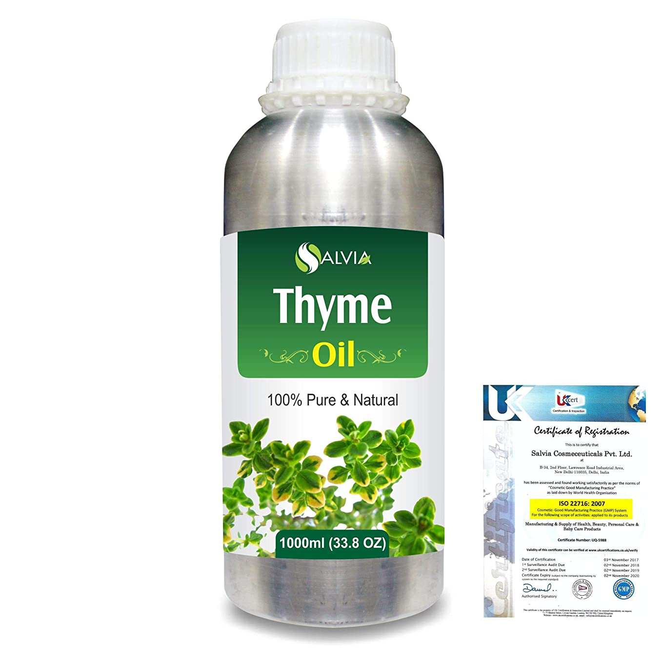デモンストレーションヒューズ本Thyme (Thymus vulgaris) 100% Natural Pure Essential Oil 1000ml/33.8fl.oz.