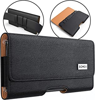 Bomea iPhone 8 7 6s 6 Holster, Leather Belt Case with Belt Clip and Loops Holster Pouch Cell Phone Holder for Apple iPhone 6s 7 or 8 (Fits Phone with Case on)