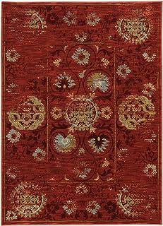 """Moretti Birani Area Rug 6386E Red Faded Circles 5' 3"""" x 7' 6"""" Rectangle"""