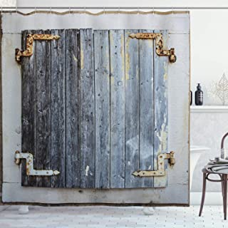 Ambesonne Shutters Shower Curtain, Wooden Window Shutters with Shabby Paint Rusty Antique Traditional Village Picture, Cloth Fabric Bathroom Decor Set with Hooks, 70