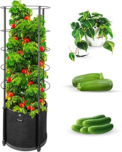 lowest Outland Living Large Tomato Planter with Metal Trellis 68 Inch, 20 Gallon Fabric Pot with Drainage sale - Tall Cages for Climbing Outdoor Plants Cucumber, discount Grape, Beans and Flowers, Black (Pack of 1) online