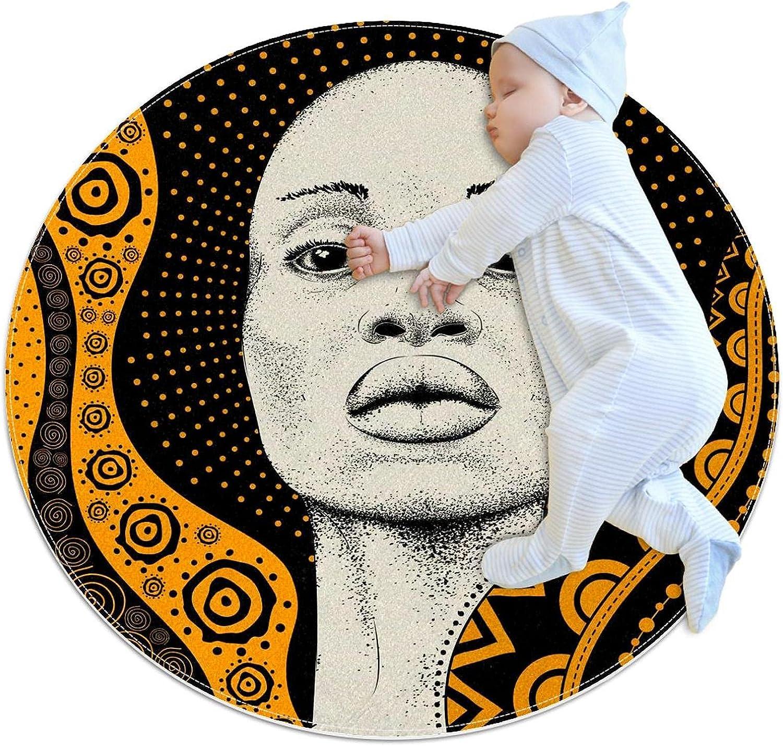 Orange African Girl Woman Cheap bargain Kids Nursery Play Max 86% OFF Round Mat Carpe Rug