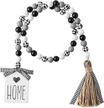 40inch Black&White Plaid Wood Bead Garland with Tassel Rustic Farmhouse Tiered Tray Decorations Country Rustic Wall Hangi