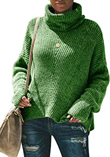 Womens Plus Size Turtleneck Sweaters Batwing Sleeve Loose Cable Knit Chunky Pullover Jumper