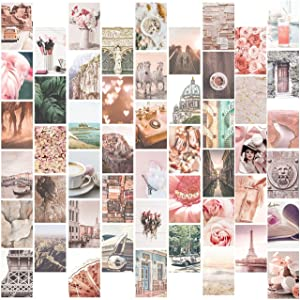 Pink Wall Collage Kit, Collage Kit for Aesthetic posters, 50 Set 4x6 Inch, Pictures Wall Art Prints for Kids, Bedroom Decor, Trendy College Dorm Room Decor, Teen girl Room Decor Aesthetic Photos pack, Cute Boho Living Room Wall Decor, Beautiful Blue Beach Photo, Picture Collection