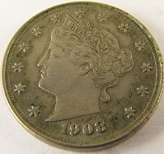 1908 Liberty Head V Nickel Nickel About Uncirculated