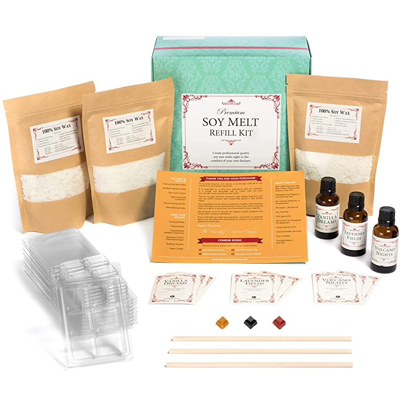 Premium Soy Melt Making Kit Refill – DIY Set Creates 9 Delightfully Scented Melts by Essential Reserve (Refill Pack #2 - Vanilla Dreams, Lavender Fields, Volcano Nights)