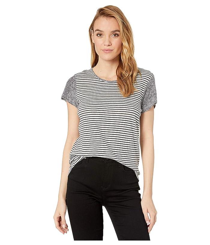 Splendid Two-Way Stripe Short Sleeve Crew Tee (Charcoal/Off-White) Women