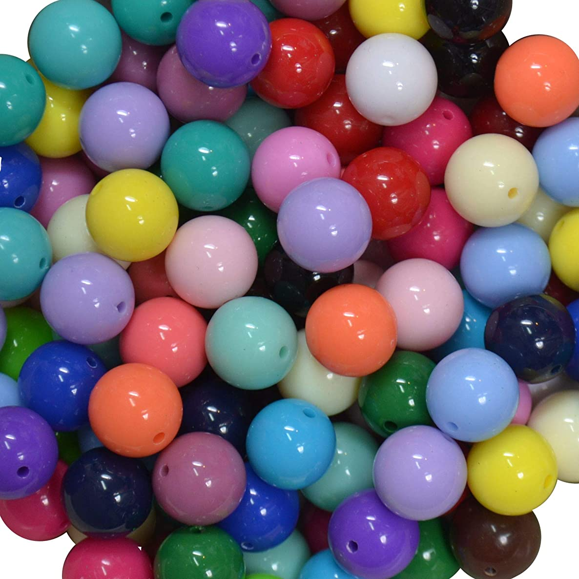 16mm Bulk Mix of Solid Chunky Bubblegum Beads 24 Colors, 240 Acrylic Gumball Beads