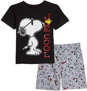Black//Gray Peanuts Snoopy T-Shirt /& Shorts Set