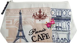 Cosmetic travel organizer pouch makeup toiletry multi-function storage bag with hanging loop for vacation (Paris Cafe)