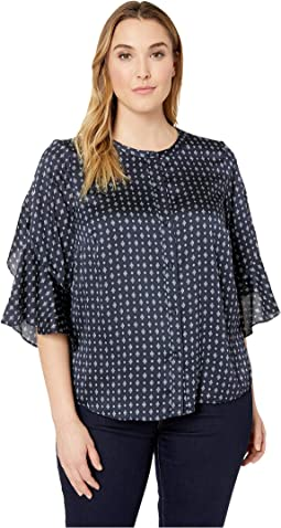 Plus Size Ruffle Bell Sleeve Geo Accents Button Down Blouse