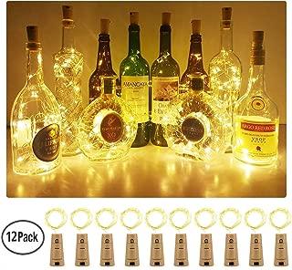 Aluan Wine Bottle Lights 12 Pack 20LED Cork Bottle Lights with Screwdriver Battery Operated Wine Cork Lights String Lights for Party Wedding Christmas Halloween Bar Jar Lamp Decor, Warm White