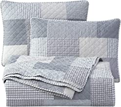 Chezmoi Collection Anderson 3-Piece Printed Patchwork Quilt Set - Plaid Checkered Stripe - Stone Washed Microfiber Lightwe...